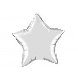 Balony foliowe gwiazdki, srebrne, 2 szt