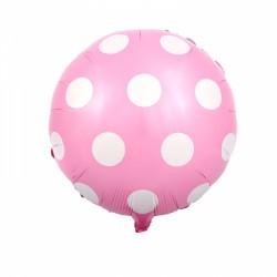 Balon foliowy grochy, różowy