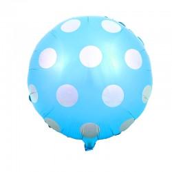 Balon foliowy grochy, niebieskie