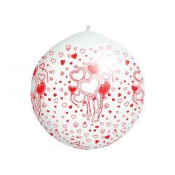 Balon 1m, Serca, nadruk, Pastel biały