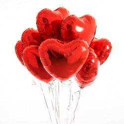 Balony serca foliowe z helem, 5 sztuk
