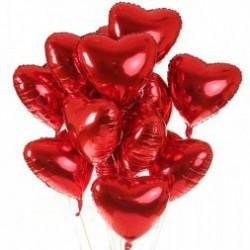 Balony serca foliowe z helem, 10 sztuk