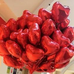Balony serca foliowe z helem, 20 sztuk
