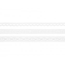 Koronka bawełniana, biała, 3szt.