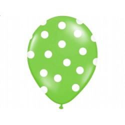 "Balon 14"" Pastel Apple Green ""Kropki"", 1szt."