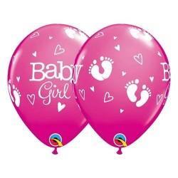 Balon foliowy Baby Girl, stópki 11'', 1szt.