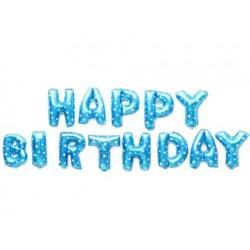 Balon foliowy HAPPY BIRTHDAY, niebieski, 40cm