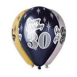 Balony 30, złoto-czarno-srebrne, 6szt, 12''