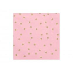 Serwetki w gwiazdki, różowe, 20szt.