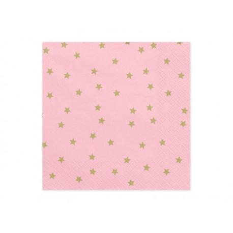 Serwetki w gwiazdki, różowe