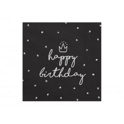 Serwetki Happy Birthday, czarny