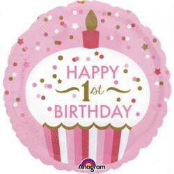 Balon foliowy Roczek Muffinka, różowy, 18''
