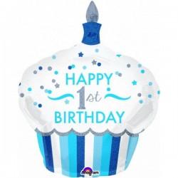 Balon foliowy Roczek, duża muffinka, niebieski