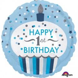 Balon foliowy Roczek Muffinka, niebieskie, 18''