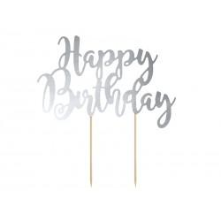 Topper na tort Happy Birthday, srebrny