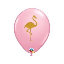 """Balon gumowy 12"""" j.różowy Flaming złoty"""