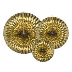 Rozety dekoracyjne, złote, 3szt.
