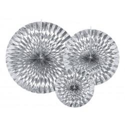 Rozety dekoracyjne, srebrne, 3szt.