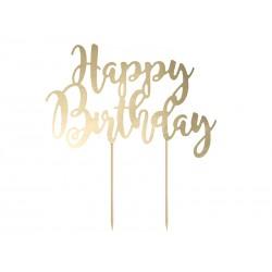 Topper na tort, Happy Birthday, złoty