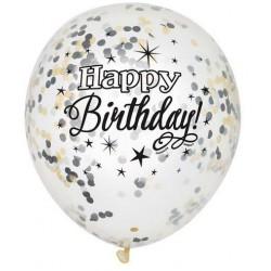 Balony przezroczyste Happy Birthday z konfetti w środku - 30 cm - 6 szt