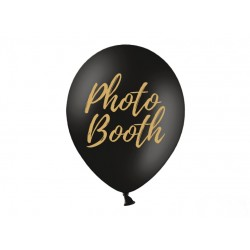 Balony 30cm, złoty napis Photo Booth, Pastel Black