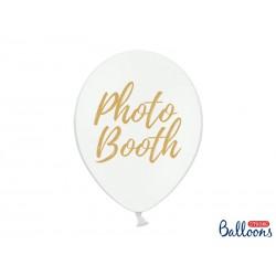Balony 30cm, złoty napis Photo Booth, Pastel Pure White