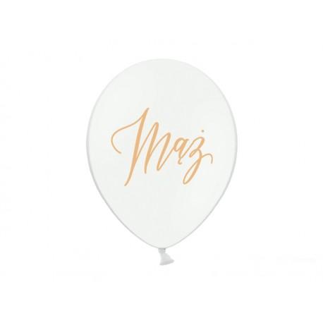 Balony 30cm, złoty napis Mąż, Pastel Pure White