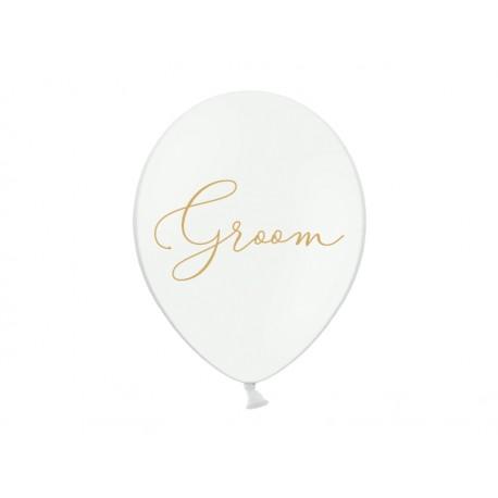 Balony 30cm, złoty napis Groom, Pastel Pure White