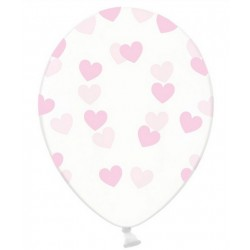 """Balon gumowy 14"""", Crystal Clear i j.róż Serduszka, 1szt"""