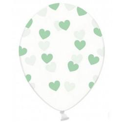 "Balon gumowy 14"", Crystal Clear i Serduszka fuksja, 1szt"