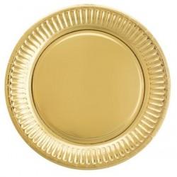 Talerzyki papierowe złote, 22cm/8szt.