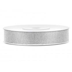 Tasiemka brokatowa, srebrny, 10mm/25m