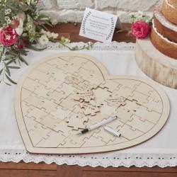 Drewniane puzzle w kształcie serca, księga gości
