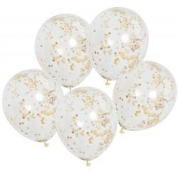 Balony przezroczyste ze złotym konfetti w środku - 30 cm - 6 szt.