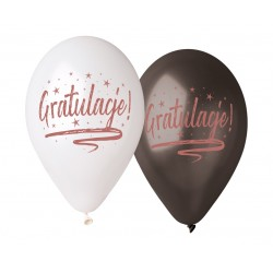"""Balony Premium Hel """"Gratulacje!"""", 13""""/ 5 szt."""