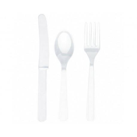 Zestaw 24 Sztućce białe (8 łyżek, 8 noży, 8 widelców)