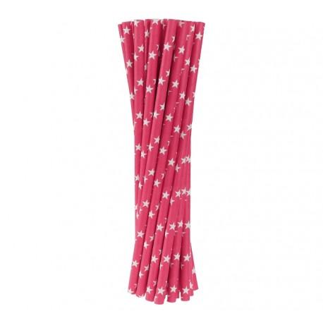 Słomki papierowe c. różowe w gwiazdki, 6x197mm / 24 szt.