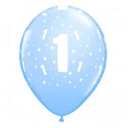 """Balony cyfra 1, 6 szt., 11"""" niebieskie"""