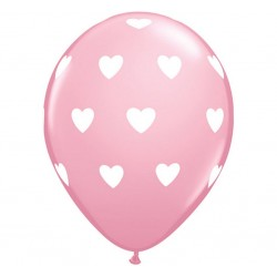"Balon QL 11"" z nadr. ""Serca"", pastel różowy / 6 szt."