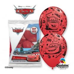 "Balony QL 12"" z nadr. CARS AUTA Lightning Mcqueen & Mater, czerwony / 6 szt."