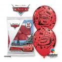 "Balony gumowe 12"" z nadr. CARS AUTA Lightning Mcqueen & Mater, czerwony / 6 szt."