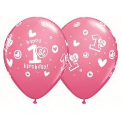 """Balony Cyfra 1, """"1st Happy Birthday"""", pastel różowy / 1 szt"""