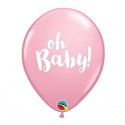 """Balony QL 11"""" z nadr. """"OH BABY!"""", pastel różowe / 1 szt"""