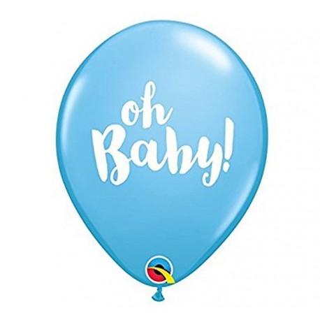 """Balony QL 11"""" z nadr. """"OH BABY!"""", pastel niebieskie / 1 szt."""