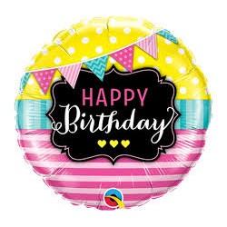 """Balon foliowy 18"""" QL CIR """"Happy Birthday Pennants &Pink Stripes"""""""