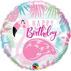 "Balon foliowy 18"" QL CIR ""Birthday Pink Flamingo"""