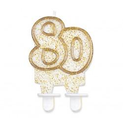 Świeczka liczba 80 złota