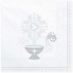 Serwetki na chrzest srebrne