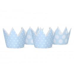 Korony w kropki, niebieskie 4szt