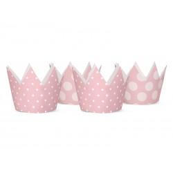 Korony w kropki, różowe 4szt